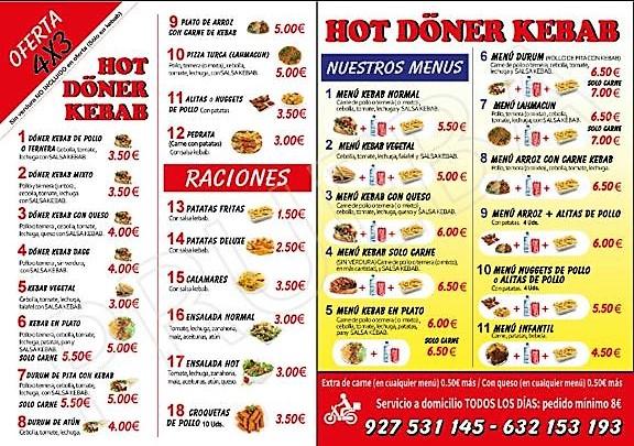 Kebab Navalmoral Hot Doner Kebab Carta 2
