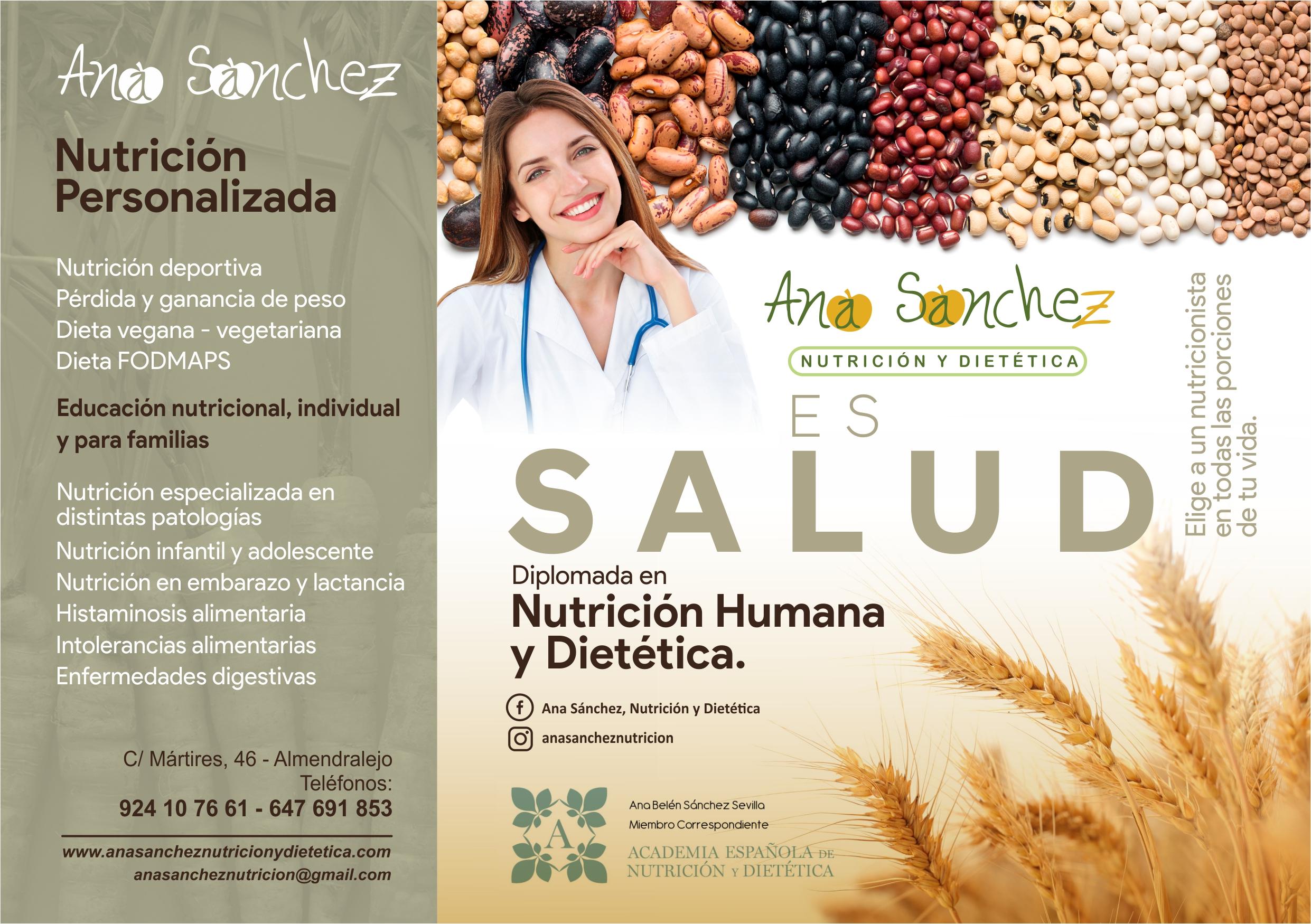 Dieta personalizada en Almendralejo Ana Sánchez